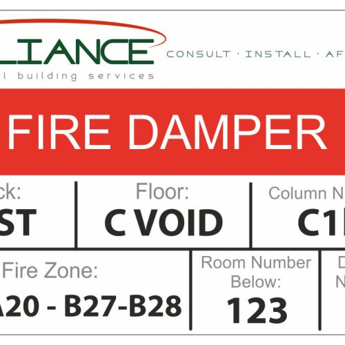 QMC example fire damper label